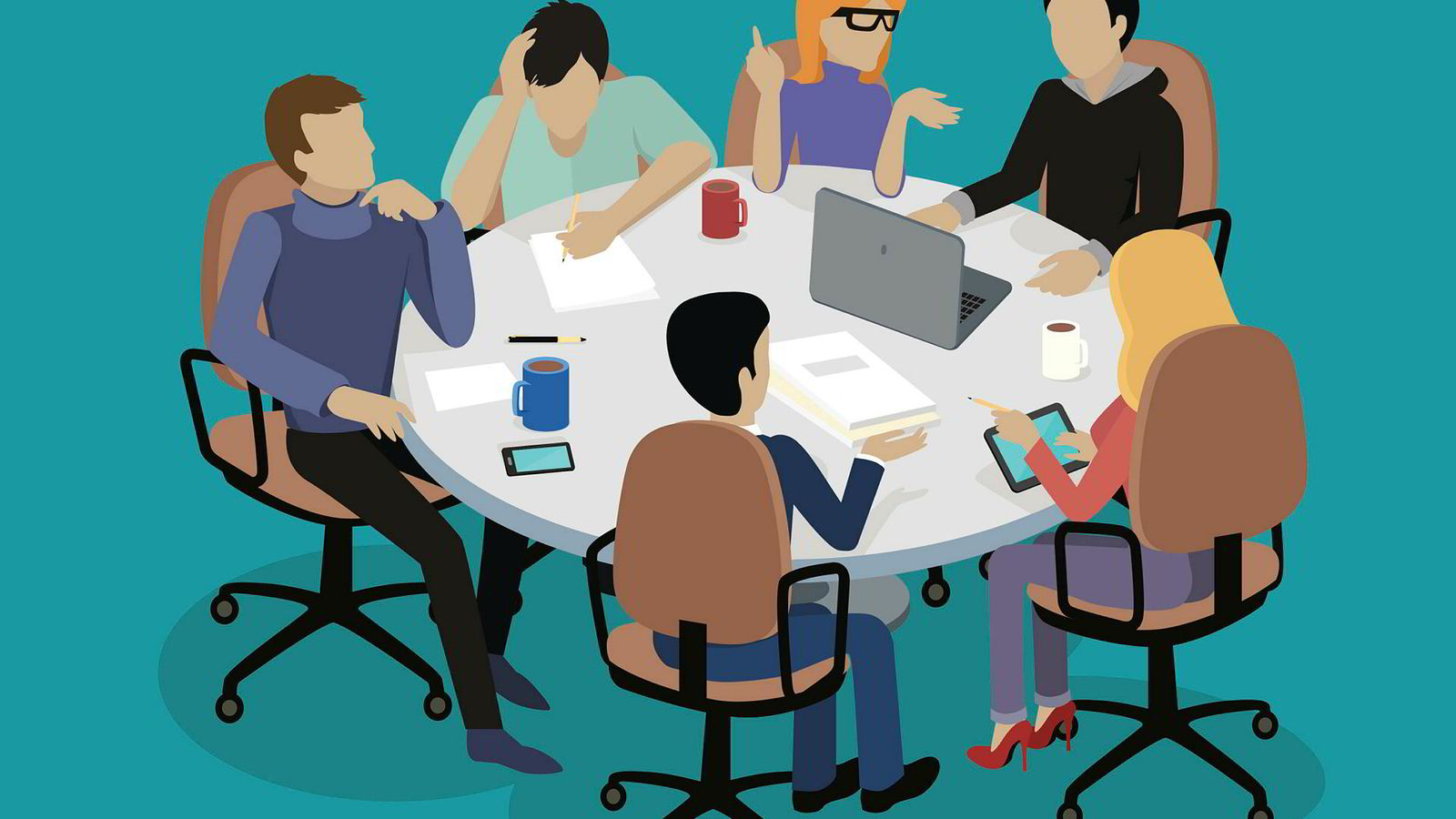 Meeting and discussion briefing. Business meeting, conference and meeting room, business presentation, office teamwork, team corporate, workplace discussing illustration ---