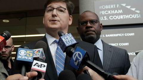 Advokat Miles Ehrlich, t.v., og Ismail Ramsey representerer Anthony Levandowski. Ehrlich sier deres klient ikke har stjålet noe.