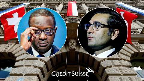 Credit Suisse-sjef Tidjane Thiam (til venstre) og Iqbal Khan, som har hatt topposisjoner i banken, er hovedmennene i en bitter personkonflikt