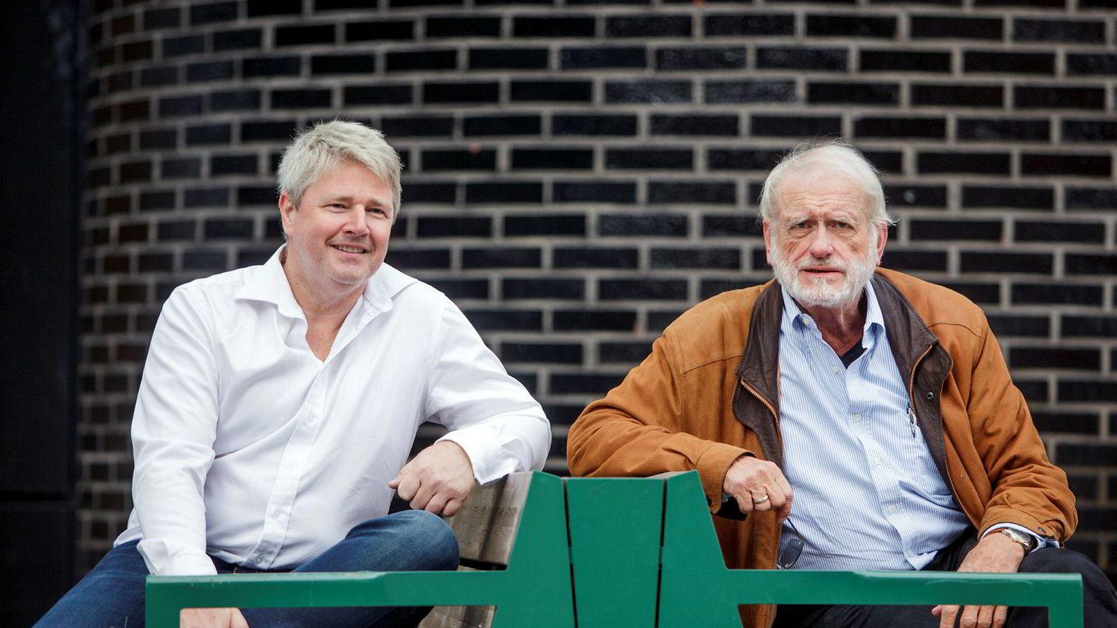 Daglig leder Richard Espeseth (til venstre) og styreleder Terje Mikalsen (til høyre) i Hydrogenpro ser ikke på hydrogenselskapet Nel som en konkurrent. Nel-sjef Jon André Løkke mener argumentene til Espeseth faller på sin egen urimelighet.