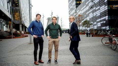 Gründere i låneselskapet Kredd tror nytt gjeldsregister vil bremse forbrukslånsveksten. Fra venstre: daglig leder Knut Magnus U. Jacobsen og kommersiell direktør Andreas M. Talseth i Kredd. De har fått med Knut N. Kjær som én av eierne i selskapet.