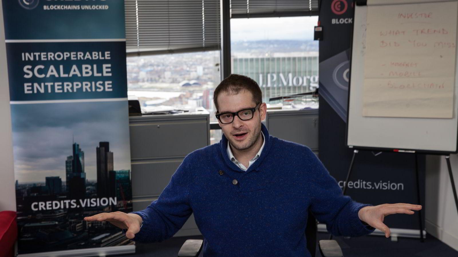 SATSER. Gründer Eric Benz vil slå seg opp på blockchain-teknologi med sitt selskap Credits i London. FOTO: Nina E. Rangøy