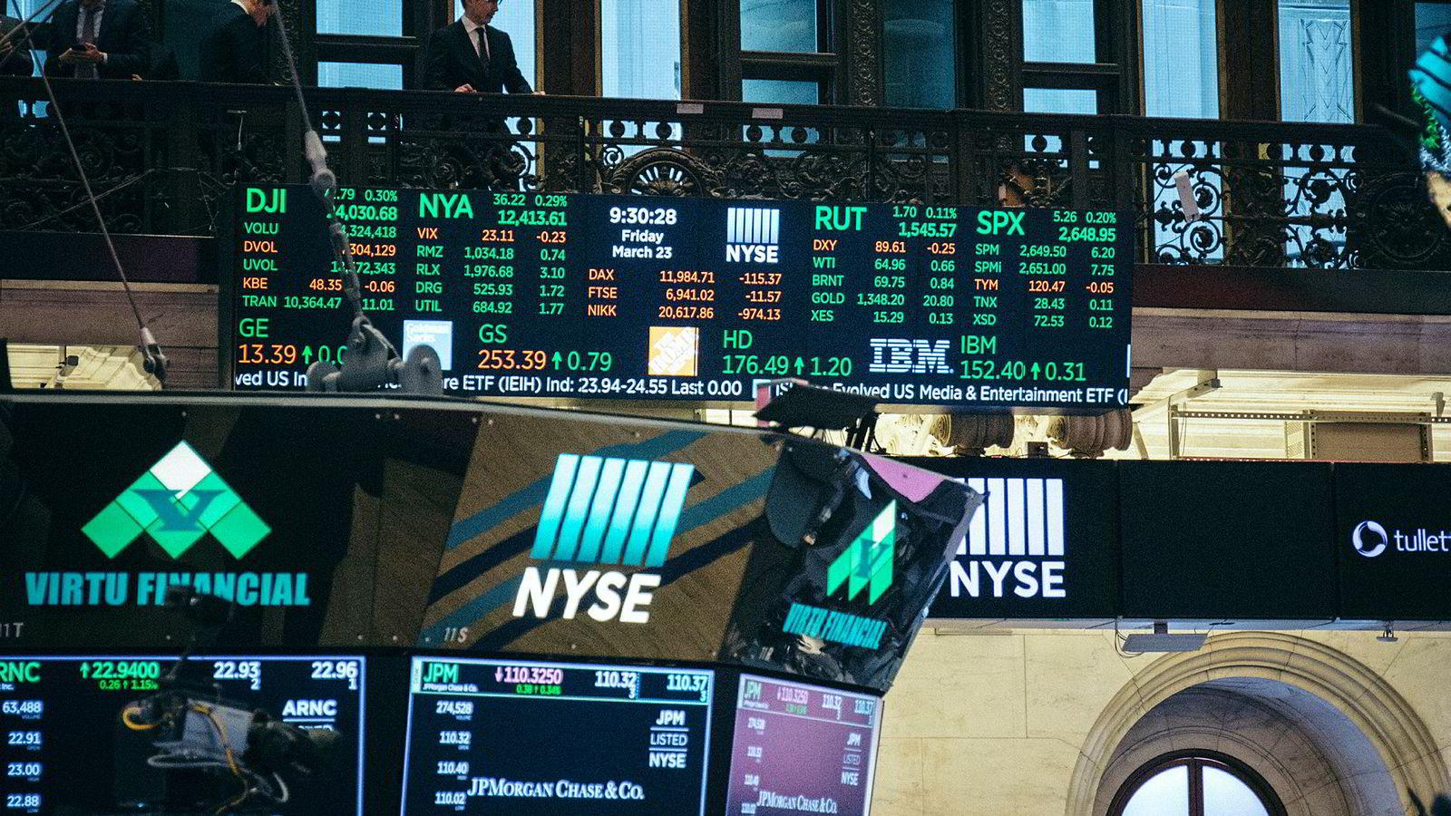 Det er full gass i obligasjonsmarkedet etter markedsuroen som varte fra november til januar. Her fra New York-børsen.