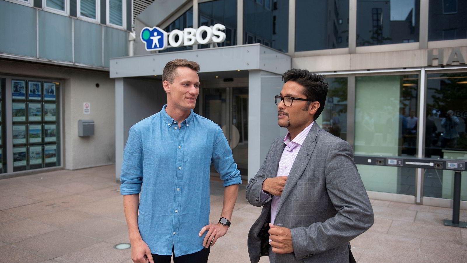Gründer Kris Riise (til venstre) i Unloc får med seg Daniel K. Siraj og Obos som investor. 100 borettslag og sameier skal bruke teknologien i eksisterende leilighetsbygg.