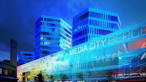 Bergens seks største medievirksomheter skal flytte under samme tak. Foto: Entra OPF Utvikling / MAD Arkitekter / Placebo Effects