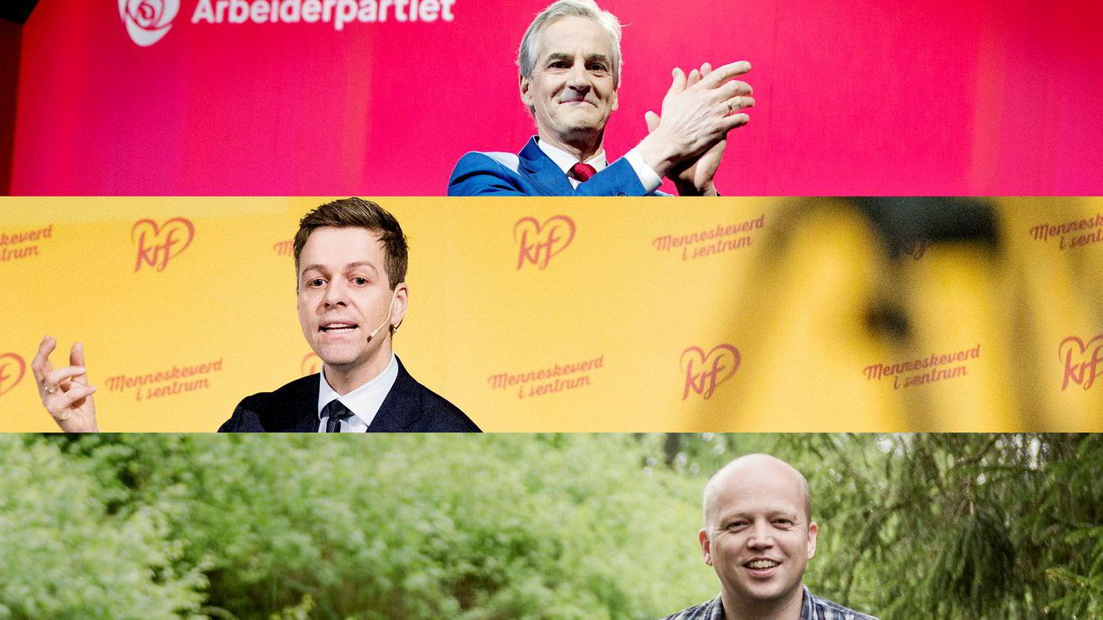 Det er knapt, men gjennomsnittet av de første målingene i valgkampen viser at Ap-leder Jonas Gahr Støre (øverst), KrF-leder Knut Arild Hareide (i midten) og Sp-leder Trygve Slagsvold Vedum kan få flertall sammen.