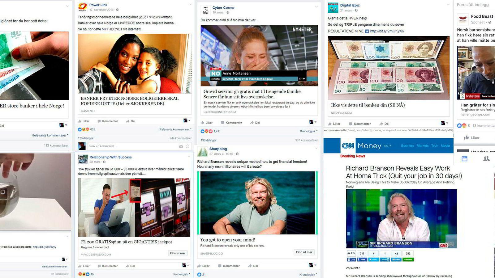 Falske annonser med kjente og ukjente spres på Facebook.