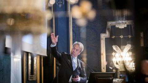 Sentralbanksjef Øystein Olsen mener endringene i boliglånsforskriften, høyere boligbygging og et høyt prisnivå har bidratt til omslaget i boligmarkedet. Her fra en boligkonferanse på Grand Hotel i Oslo tirsdag.