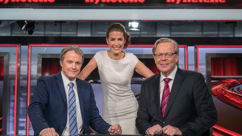 Bergenspolitikerne frykter at nyhetsankerne Sturla Dyregrov, Siri Kleiven Strøm og Arill Riise skal slutte å lese TV 2-nyhetene fra studio i Bergen. Foto: Jan-Petter Dahl/TV 2