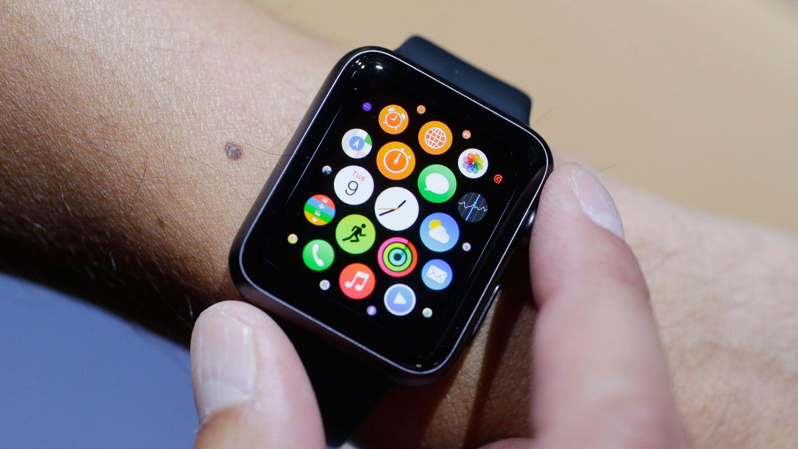 Apple Watch ble vist offentlig for første gang i San Francisco 9. mars 2015. Foto: NTB Scanpix/AP Photo/Marcio Jose Sanchez