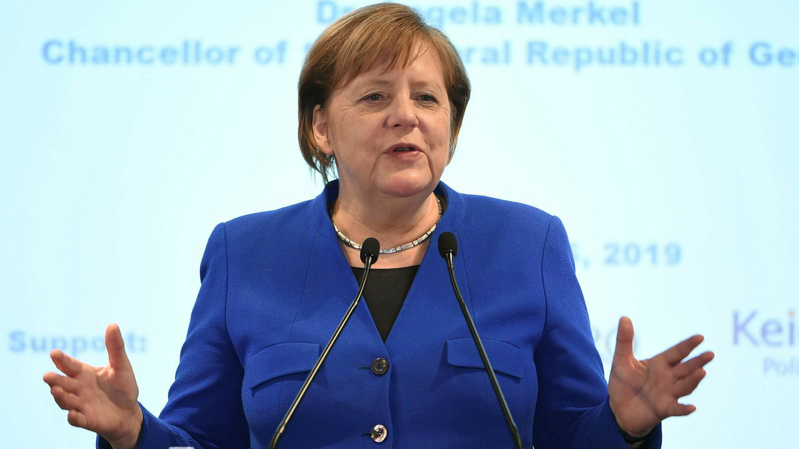 Tysklands kansler Angela Merkel talte på et universitet i Tokyo tirsdag.
