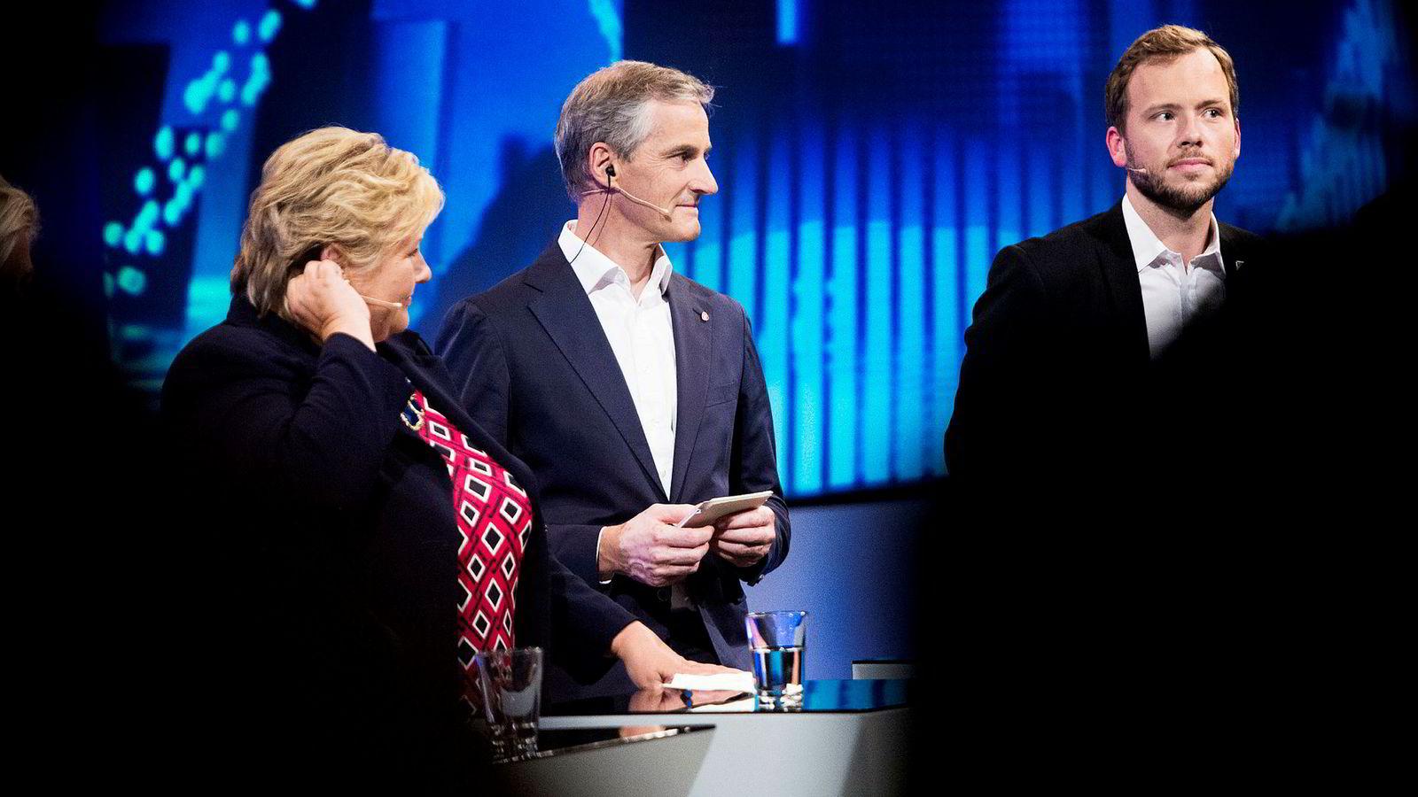 Statsminister Erna Solberg (H) kutter skatt, partileder Jonas Gahr Støre (Ap) øker pensjon og partileder Audun Lysbakken (SV) øker skatt. Det er fasiten hvis partiene fikk gjennomført programmene sine.