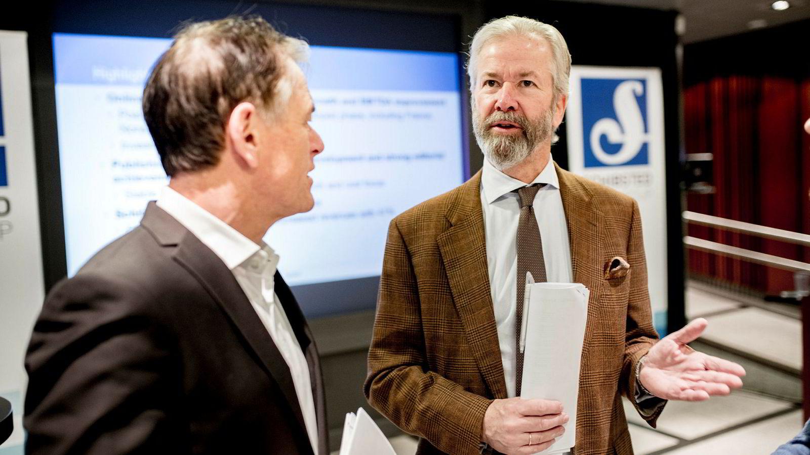 – Utskillelsen er ikke primært drevet av finansielle hensyn, skriver styreleder Ole Jacob Sunde i Schibsted. Her sammen med finansdirektør i Schibsted, Trond Berger.