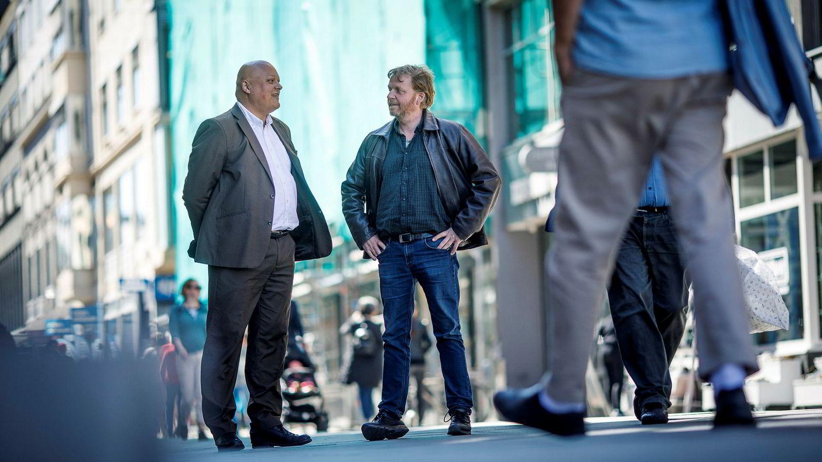 Fagsjef Jorge Jensen (til venstre) i Forbrukerrådet og advokat Håkon Angell i LO mener at pensjonsopplysningene bør komme på den årlige ligningen.
