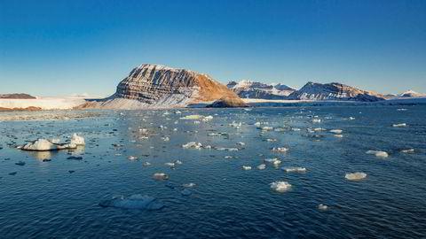 Smeltende is fra isbreer som kalver ut i Kongsfjorden ved Ny-Ålesund på Svalbard.