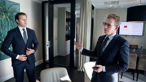 Hugo Maurstad (til høyre) i oppkjøpsfondet Altor kjøper aldri selskaper som konkurrerer med Amazon. Her sammen med Investeringsmedarbeider Herman Korsgaard.