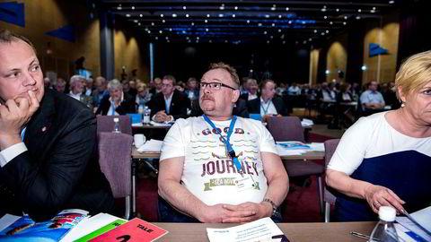 Dette bildet, som DN trykket fra Frp-landsmøtet i 2015, gjorde partinestleder Per Sandbergs t-skjorte landskjent.