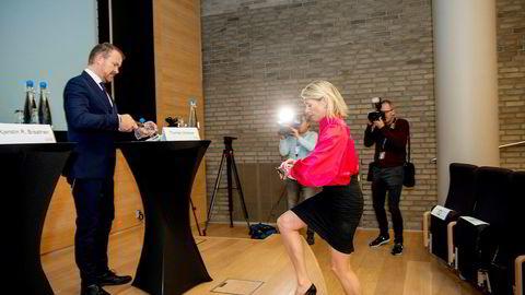 DNB-sjef Kjerstin Braathen og kommunikasjonsdirektør Thomas Midteide la torsdag frem bankens resultater for tredje kvartal.
