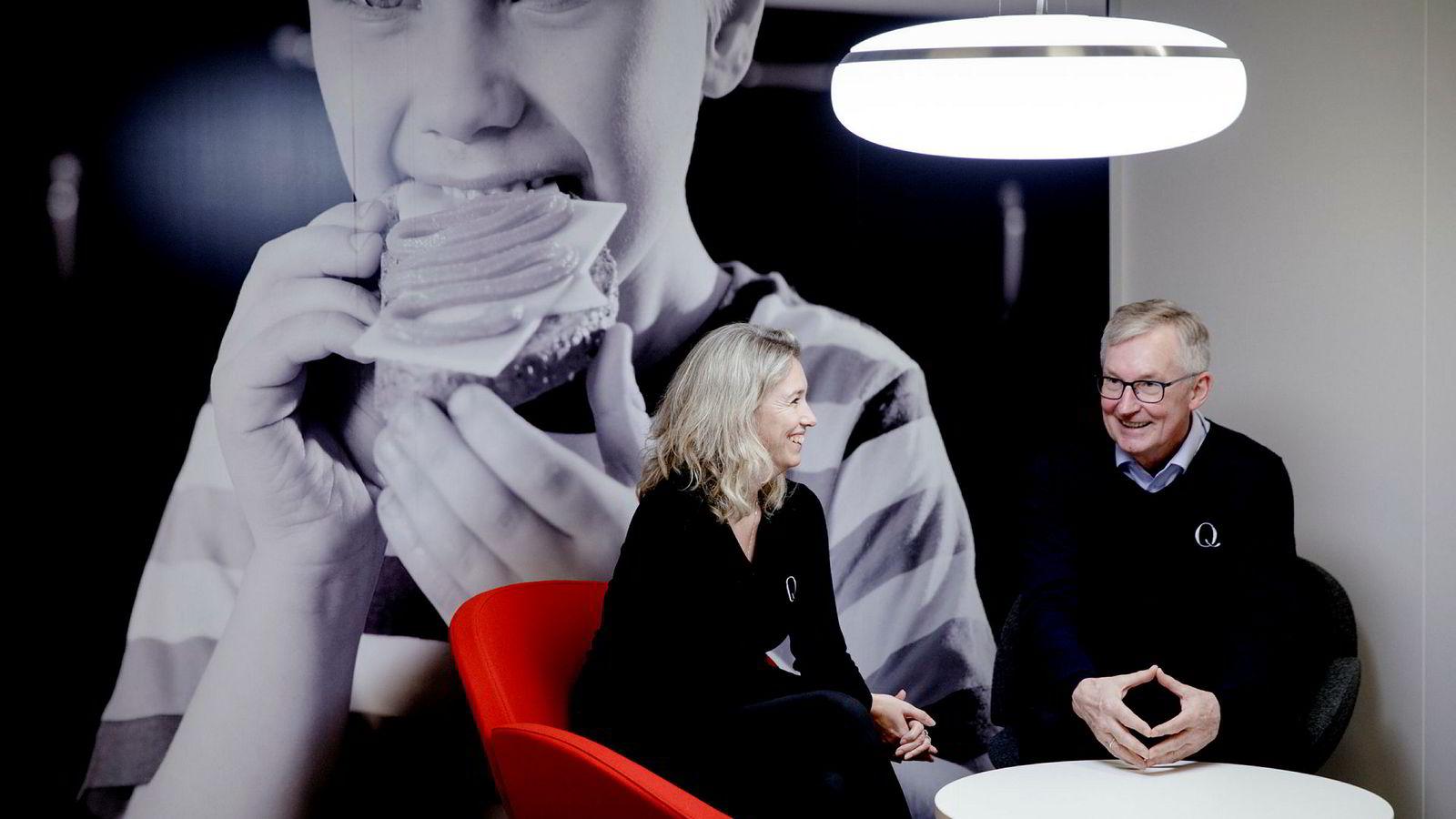 Q-sjef Bent Myrdahl og Kristine Aasheim i eierselskapet Kavli Norge er i hælene på Tine, men det er fortsatt ingen tvil om hvem som er størst.
