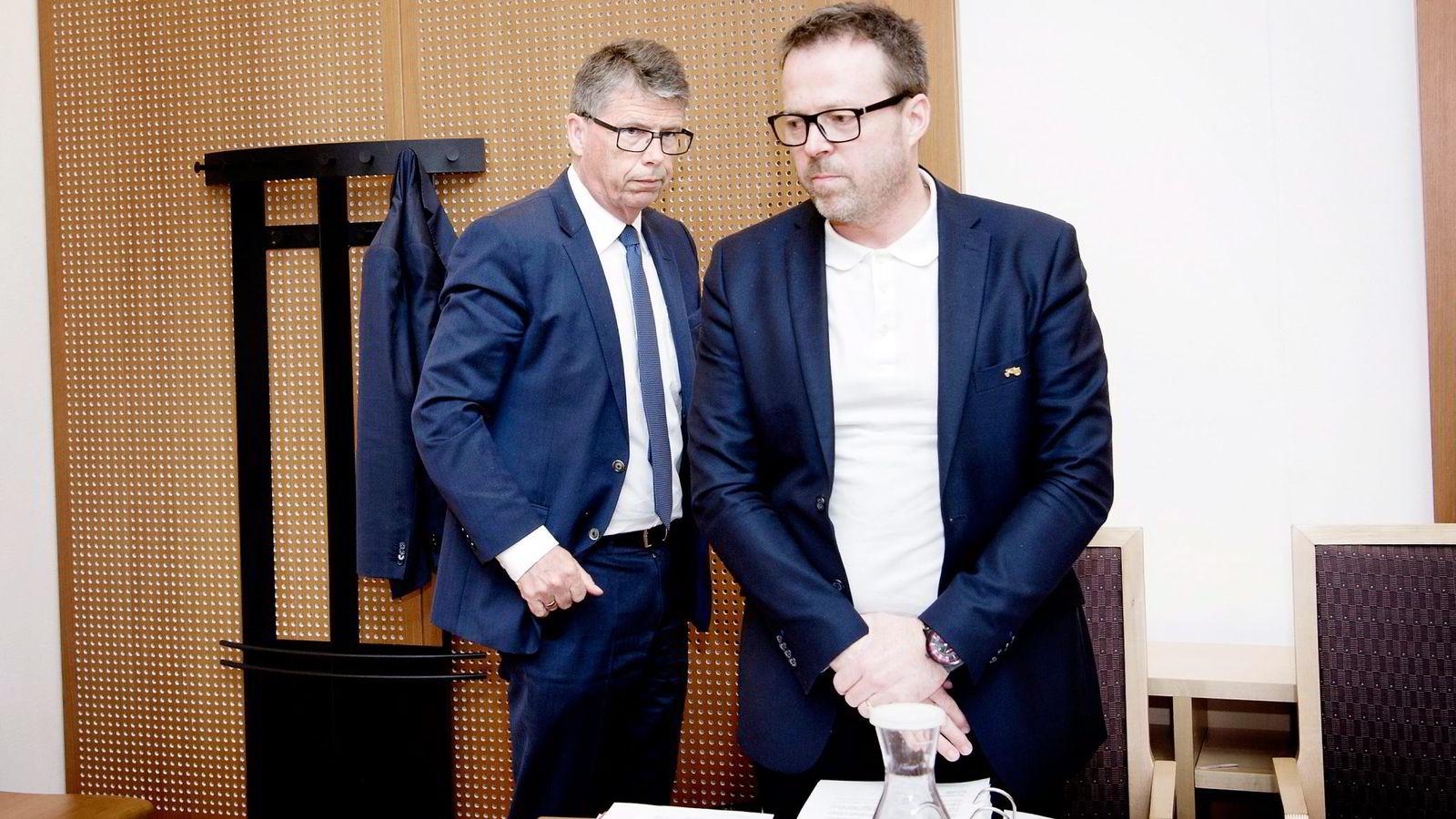 Leif Arne Langøy (til venstre) mener rettssaken handler om småpenger. Her med daglig leder Kaj Bang Westre i NMK Eiendom.