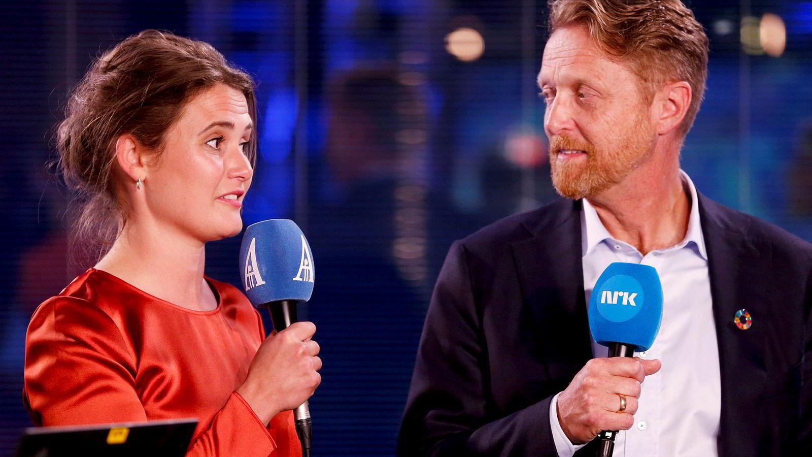 Ordførerkandidat for Stavanger Arbeiderparti Kari Nessa Nordtun lå an til å danke ut ordførerkandidat for Høyre John Peter Hernes. Her fra et TV-panel valgkvelden.