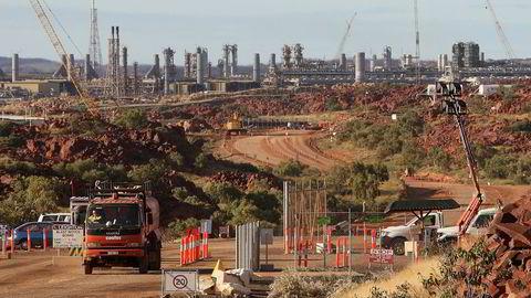 Bildet viser inngangen til naturgassfabrikken Woodside Petroleums Pluto nord i vestre Australia. Foto: Greg Wood/AFP Photo/NTB Scanpix