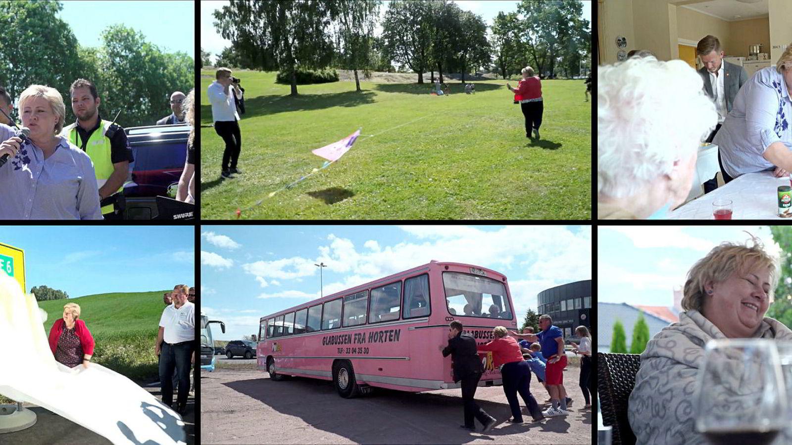 I Høyres nye «dokumentar» får publikum blant annet se statsminister Erna Solberg dytte en buss, fly drage, skyte med startpistol, besøke eldrehjem, avduke veistrekninger og drikke vin med ektemannen Sindre Finnes.
