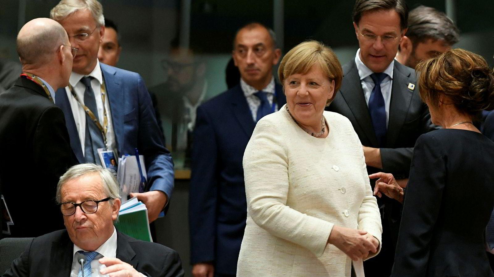 Presidenten i Europakommisjonen, Jean-Claude Juncker, og Angela Merkel var blant lederne som deltok på EU-toppmøtet i Brussel torsdag – og som ikke fikk enighet om klimanøytralitet innen 2050.