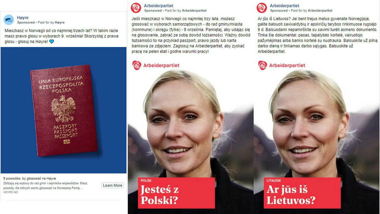De siste årene har bruken av politiske annonser på Facebook eksplodert. Siden 2015 har Høyres digitalbudsjett økt fra 500.000 til to millioner kroner. Her eksempler på innlegg fra Høyre og Arbeiderpartiet som retter seg mot polsk- og litauiskspråklige velgere.