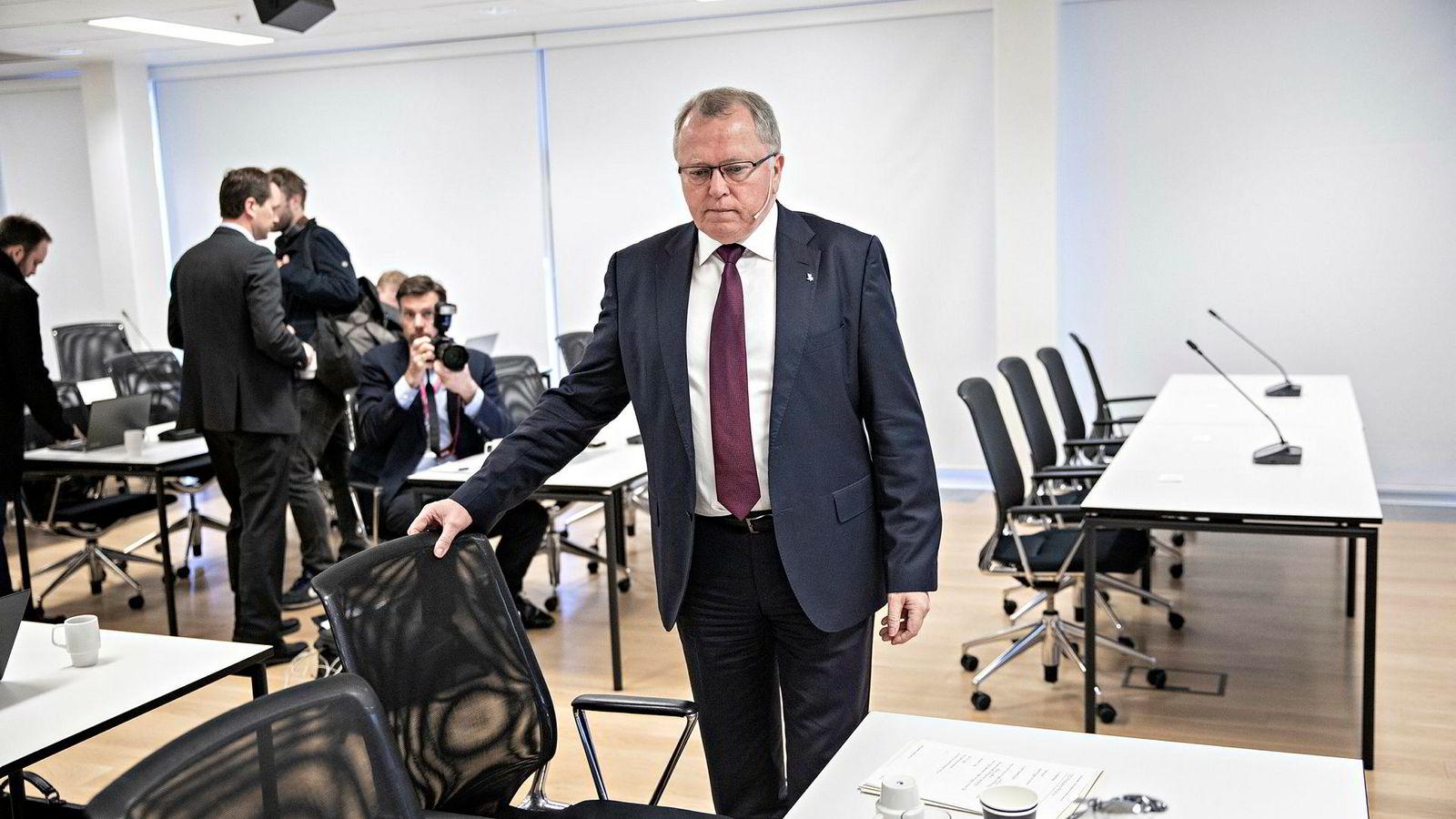 Equinor-sjef Eldar Sætre la fredag morgen frem oljeselskapets førstekvartalstall i kontorlokalene på Fornebu.