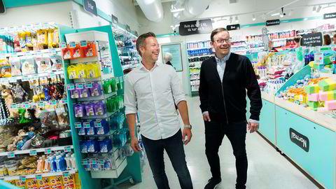 Jesper Dønnestad Brandt (til venstre) og Michael Eeg arbeider på høygir for å etablere 50 butikker og en kjede med 1200 ansatte innen utgangen av året.