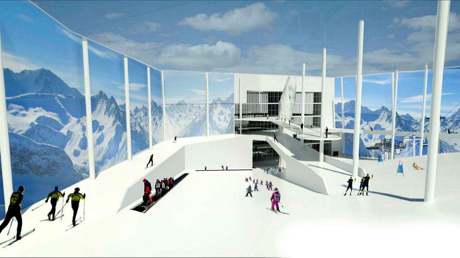 Skisse av Selvaags skihall på Lørenskog.