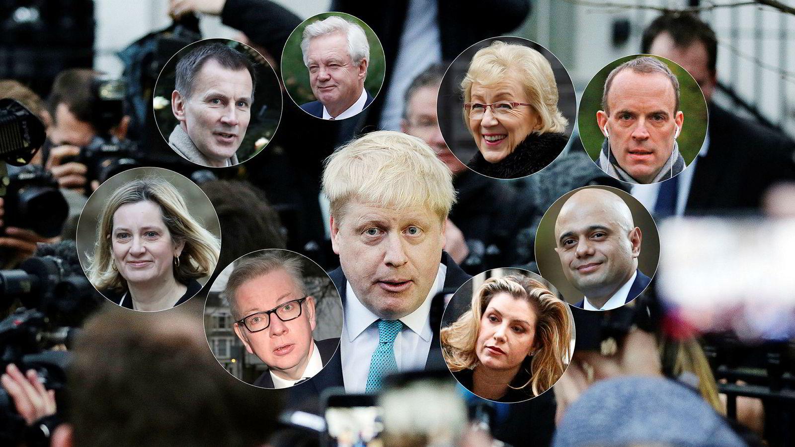 Boris Johnson (i midten) er langt ifra den eneste som kan erstatte Theresa May som partileder for de konservative – og statsminister.