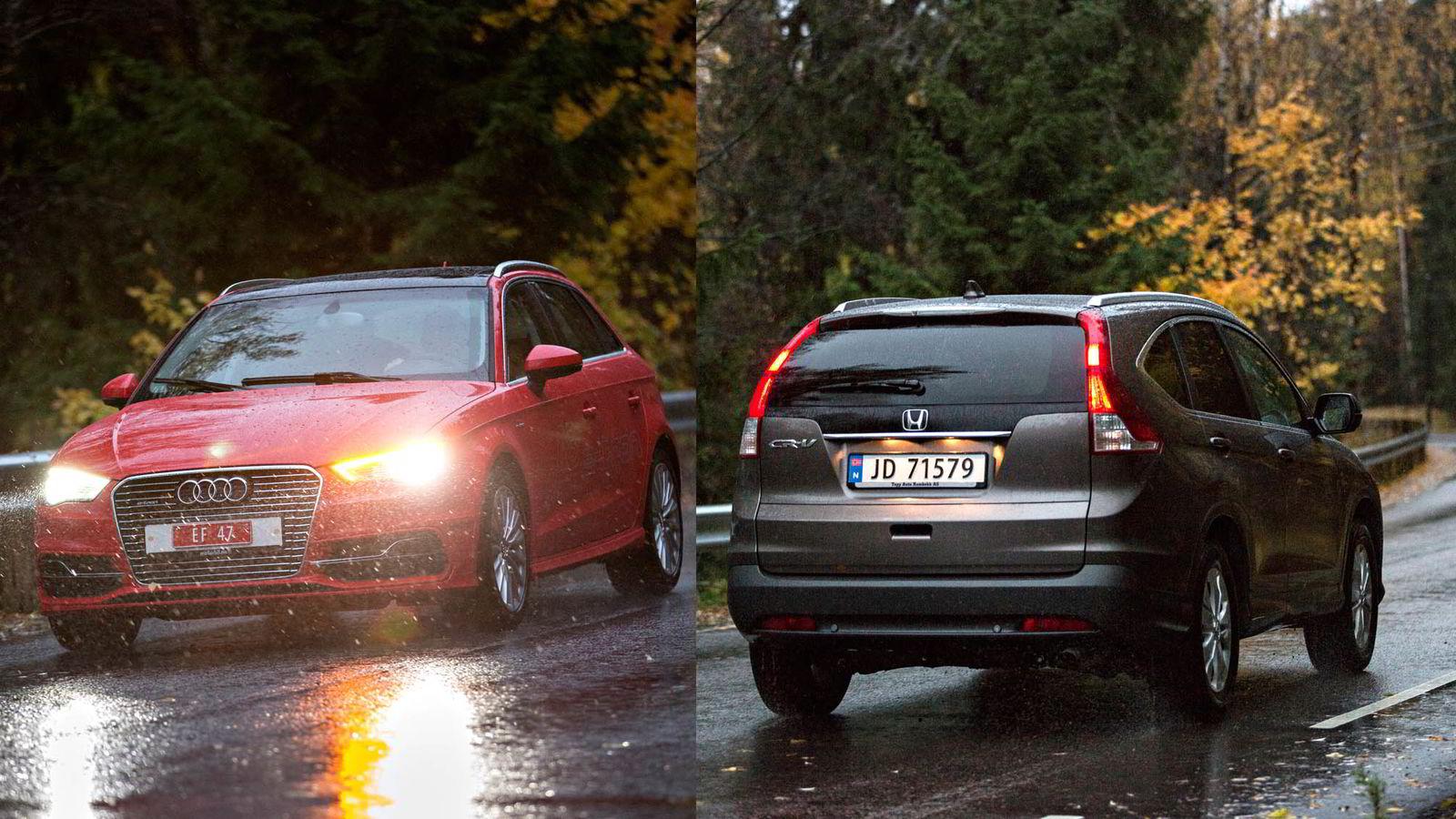 FIRMABILER: Audi A3 Sportback e-tron Skattepris: 402.378,- Måndedesleie: 4243,-. Honda CR-V Skattepris: 401.828,- Måndedesleie: 5204,- Foto: Aleksander Nordahl