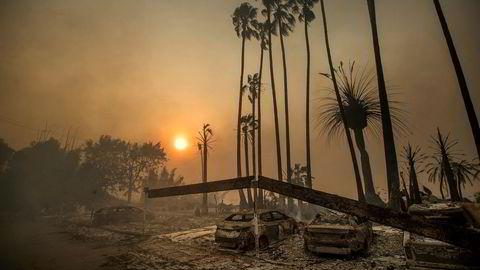 Mange steder i verden har vært rammet av hetebølger og voldsomme skogbranner i sommer. Bildet er fra skogbrannen i Ventura i California.