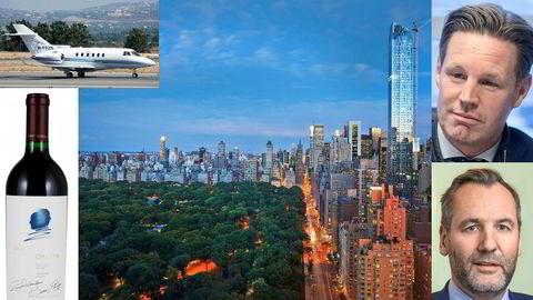Utsikten fra Mandarin Oriental Hotel i New York over Central Park. Obligo-toppene Jørgen Pleym Ulvness (øverst) og Svein Erik Lilleland reiste med privatfly og drakk vin til 800 dollar flasken på firmatur.