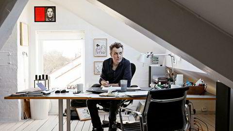 Programleder og tegner Fredrik Skavlan, her i kontoret i loftsstuen på Vinderen. Foto: Signe Dons/Aftenposten/NTB Scanpix