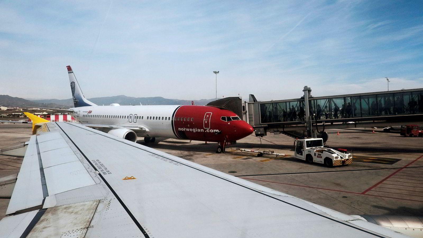 Et Norwegian-fly fikk tekniske problemer etter avgang fra Roma lørdag. Her fra flyplassen i Malaga i Spania.