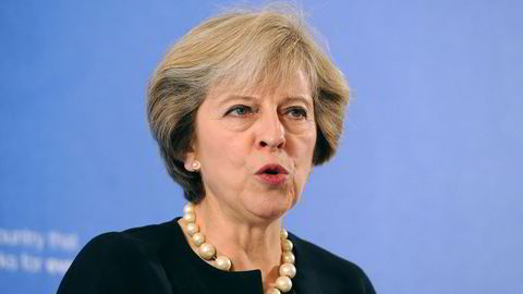 Storbritannias statsminister Theresa May. Foto: AFP PHOTO / POOL / Nick Ansell