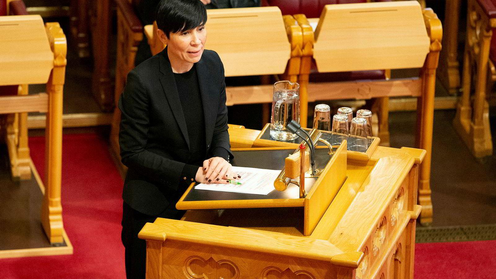 Utenriksminister Ine Eriksen Søreide (H) under Stortingets muntlige spørretime onsdag formiddag.