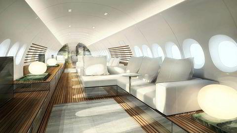 Slik skal de nye luksuskabinene se ut på Airbus A220-flyene.