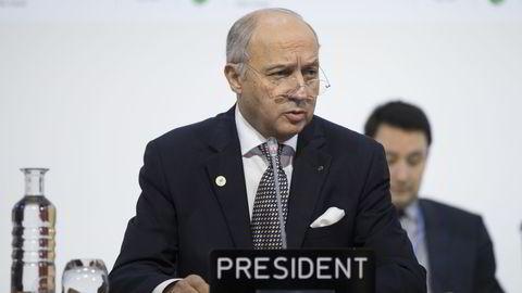 Frankrikes utenriksminister Laurent Fabius har ledet klimaforhandlingene i Paris. Foto: Berit Roald /