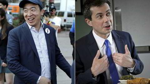 Pete Buttigieg (til høyre) eller Andrew Yang kan bli Demokratenes presidentkandidat. Begge har allerede gitt ut bøker der de staker ut politiske visjoner.