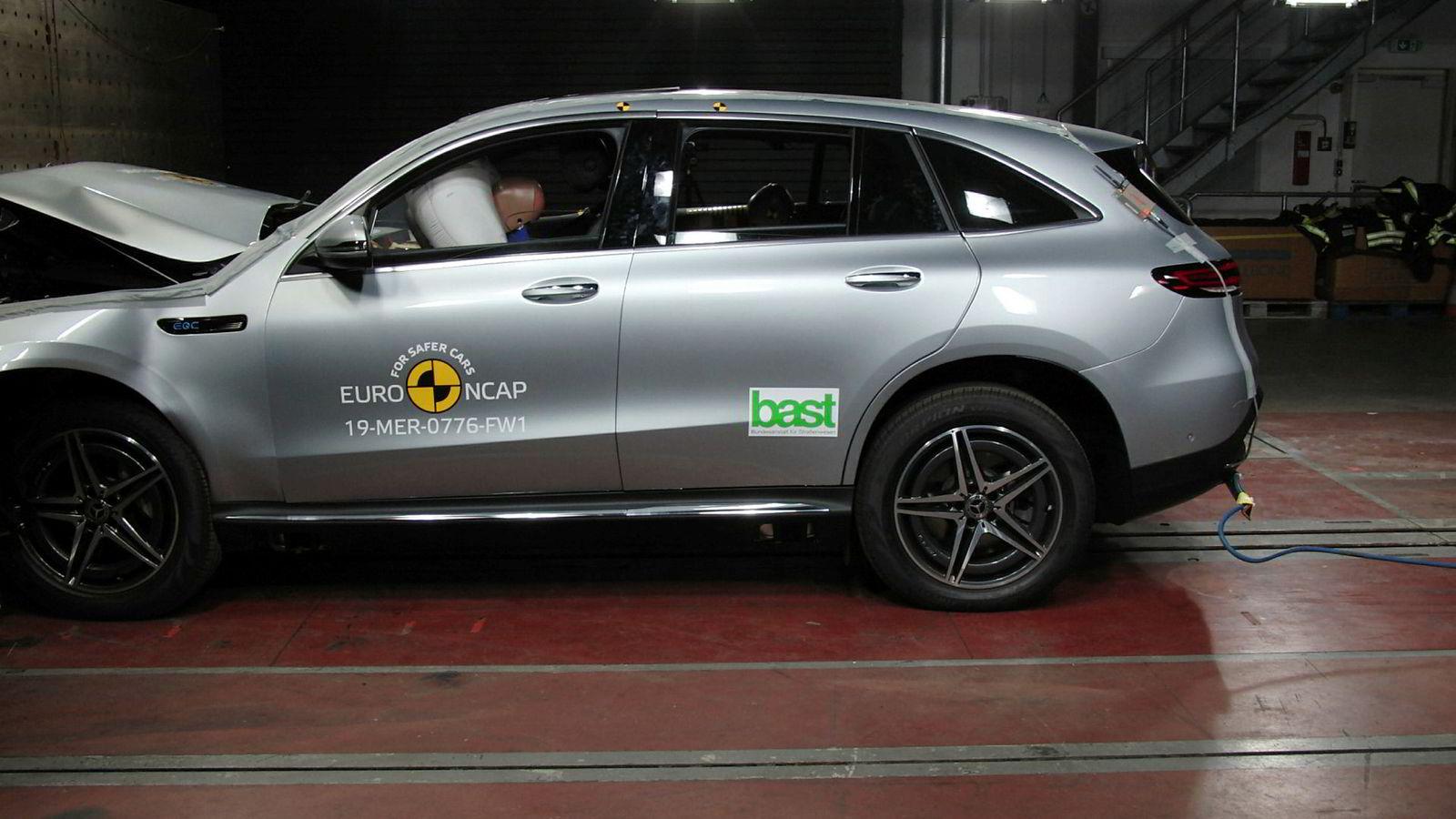 Mercedes-Benz EQC er endelig kollisjonstestet.