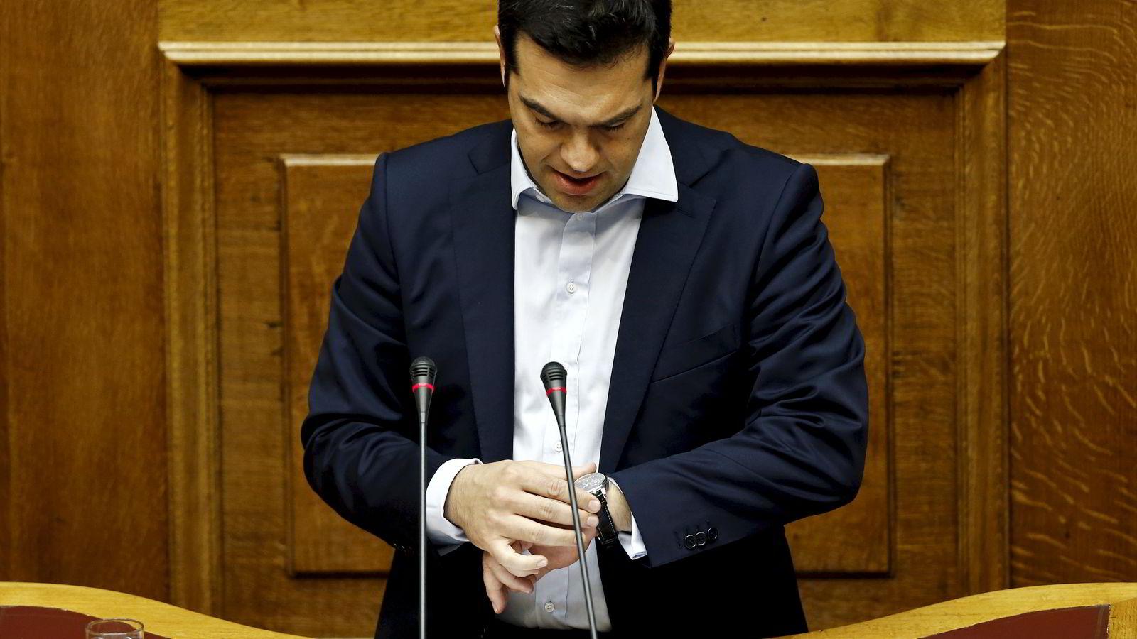 Hellas statsminister Alexis Tsipras vil ikke betale gjelden landet skylder kreditorene når fristen faller tirsdag. Foto: