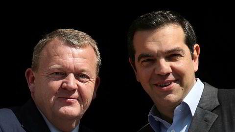 Brexit var tema da statsminister Aleksis Tsipras (til høyre) møtte sin danske kollega Lars Lokke Rasmussen i Aten.