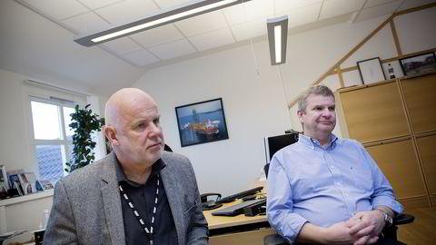 F.v Kommunikasjonsdirektør Dag Nordbø og konsernsjef Tor Henning Ramfjord i National Oilwell Varco Norge. Her fotografert i selskapets lokaler ved hovedkvarteret i Kristiansand. Foto: Tomm W. Christiansen