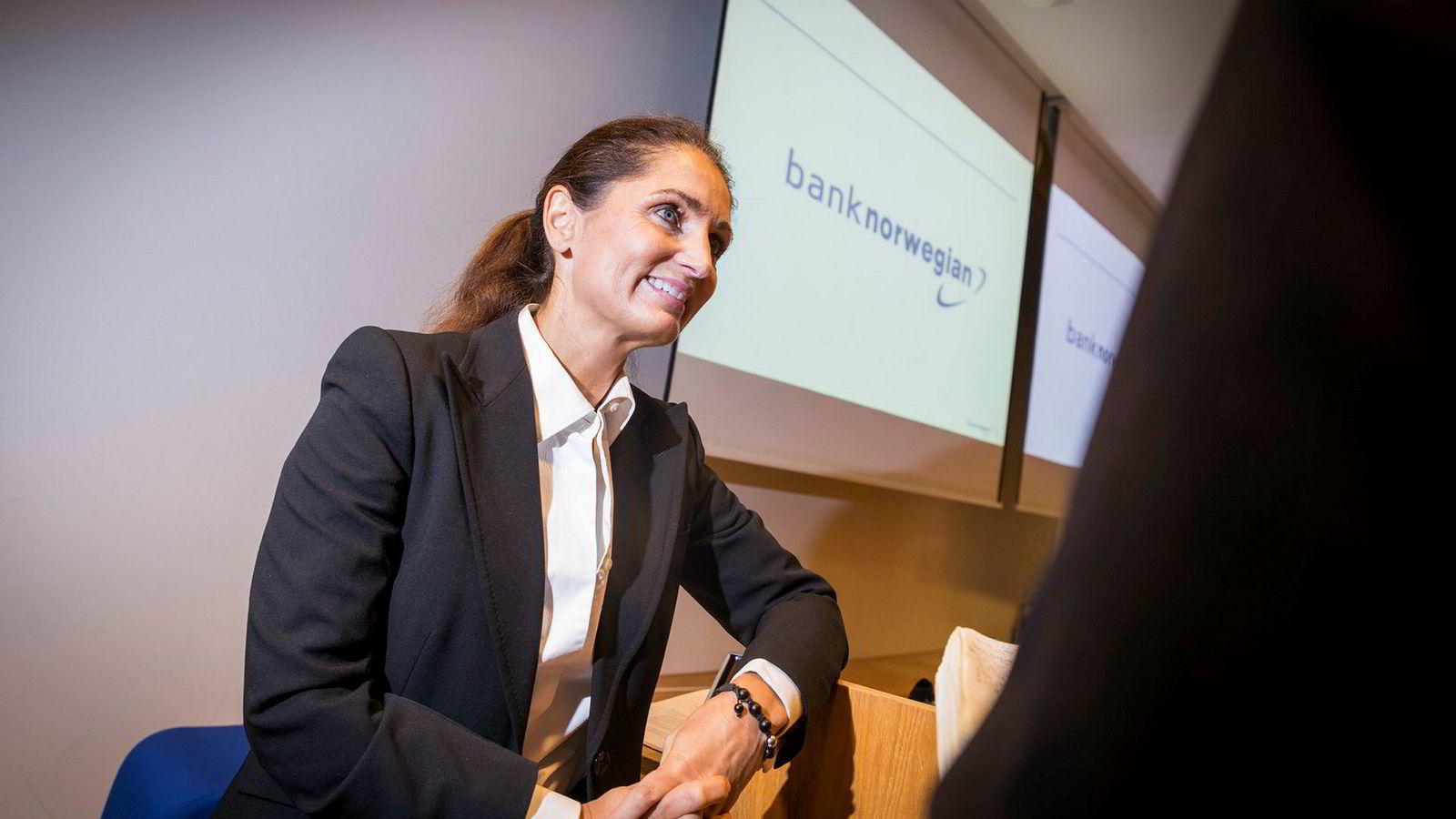 Forbrukslånsbanken Bank Norwegian er ifølge Sparebank 1 Marktes lavt priset, men like fullt tør ikke meglerhuset lengre å ha banken i sin portefølje. Her administrerende direktør Tine Wollebekk i Bank Norwegian-eier Norwegian Finans Holding.