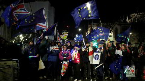 Brexit-motstandere protesterte i London tirsdag kveld.