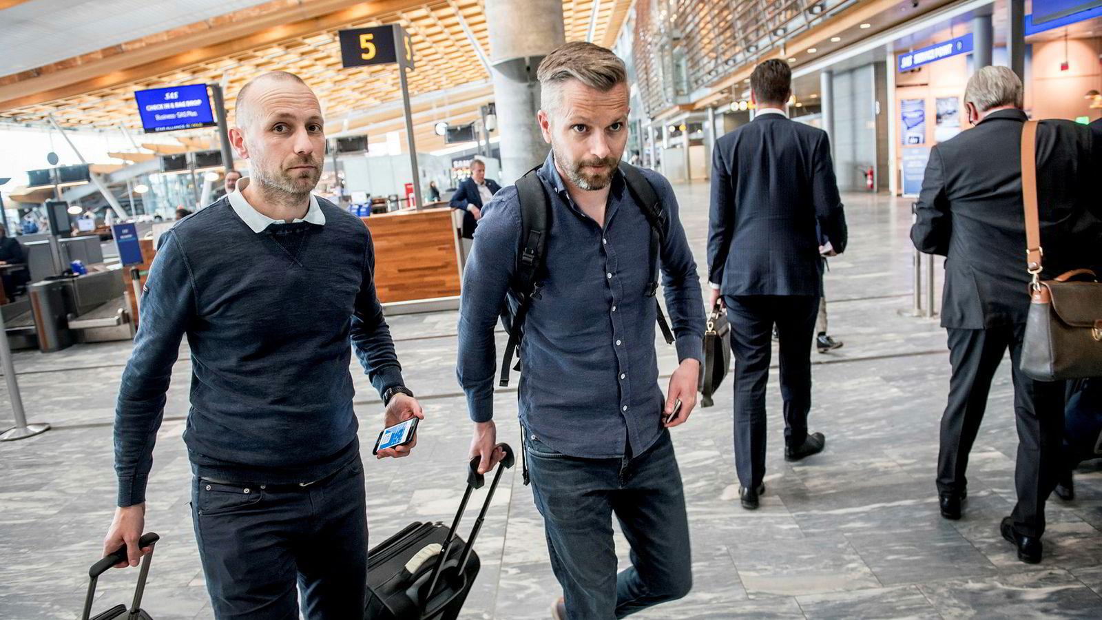 Ole Dag Løvehaug (til venstre) og kollega Anders Engøy i helseteknologiselskapet Karl Storz flyr ofte med SAS: – Vi er spente på hva som skjer neste uke, for da har flere kolleger bestilt reise til Chicago. Men jeg tror SAS er fleksibel, om det blir streik, sier Engøy. Han har rundt 50 reiser med SAS årlig.